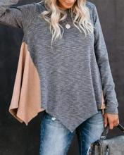 Contrast Spliced Long Sleeve Top