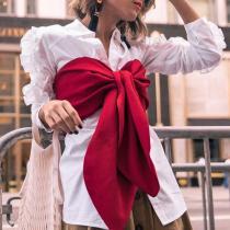 Fashion Ol Wind Wooden Ear Long Sleeve Lapel Shirt