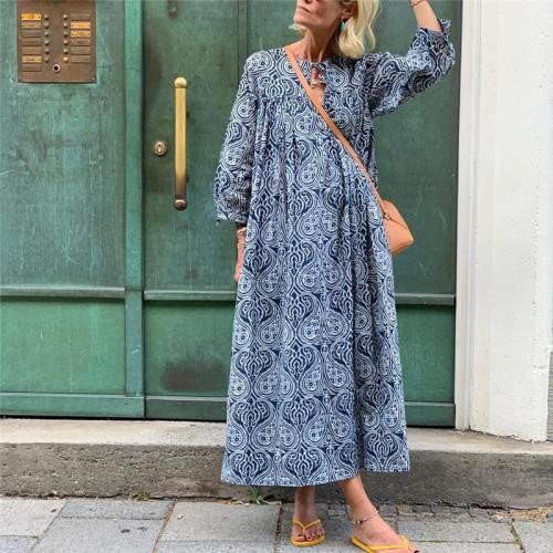 Bohemian Printed Round Neck Long Sleeve Vacation Casual Maxi Dresses