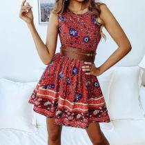 Casual Sleeveless Slim   Bohemian Style Printing Mini Dresses