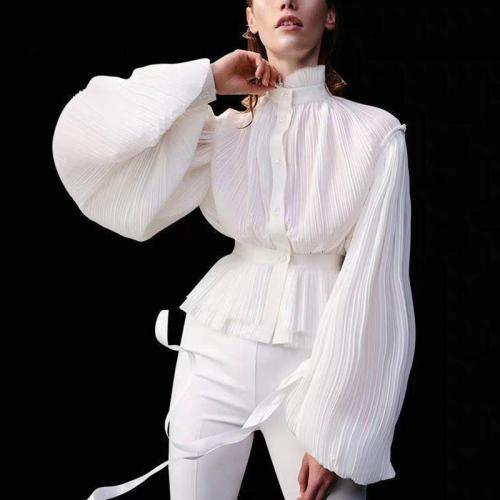 Elegant Personality Big Horn Long Sleeve Blouse