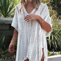 Vacation Sandbeach   Knitted Sweater Loose Blouse