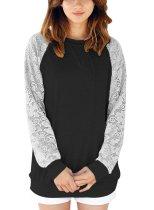 Lace Raglan Long Sleeve Sweatshirt