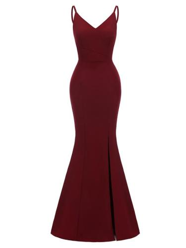 EBUYTIDE Women's V-Neck Sheath Maxi Vintage Dress