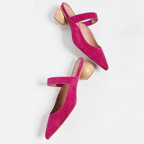 Point Toe Slip-On Low Heel Slippers
