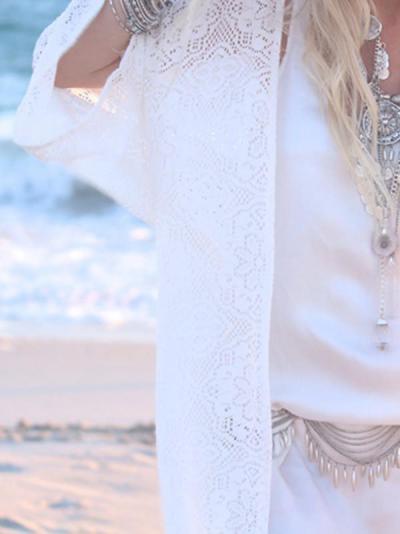 White Cotton Blend Tasselled Mini Cover-Up