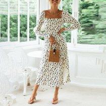 Printed polka dot square collar sexy split dress