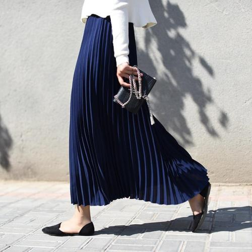 Azterumi Spring New Women Elegant  Long Skirt High Waist Pleated Ankle-Length Skirts Black Apricot Dark Blue White Beach Skirt