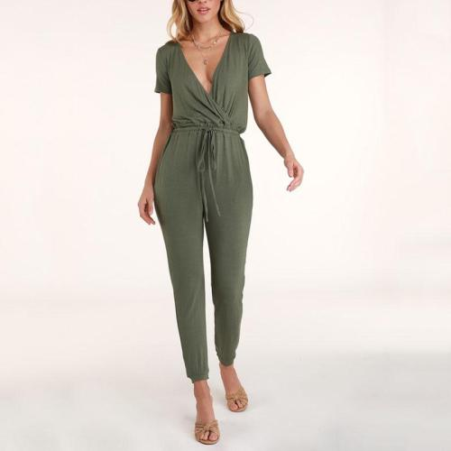 Casual V Neck Short Sleeve Belted Elastic Pure Colour Jumpsuit