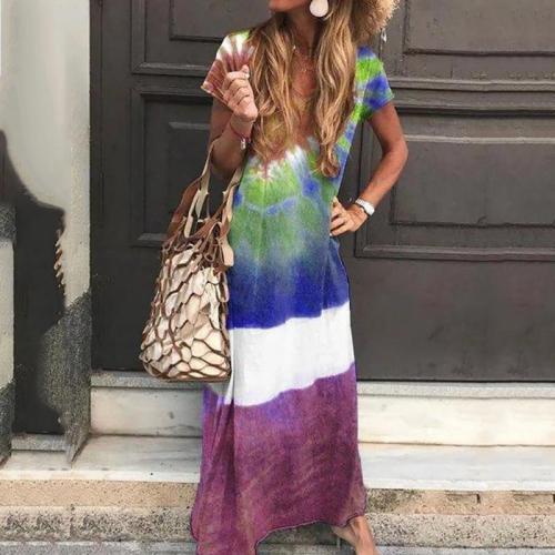 Bohemian Printed Colour Round Neck Short Sleeve Loose Dress
