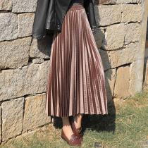 Summer Skirts Womens Long Metallic Silver Maxi Pleated Skirt Midi Skirt High Waist Elascity Casual Party Skirt Vintage Plus Size