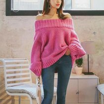 Pure Color Sexy One Word Collar Long Sleeve Knitted Sweater