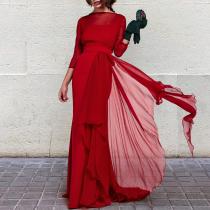 Elegant Chic Noble Slim Plain Ruffled Hem Long Sleeve Evening Dress