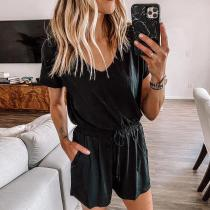 EBUYTIDE Black V-Neck Short Sleeve Fitted Jumpsuit