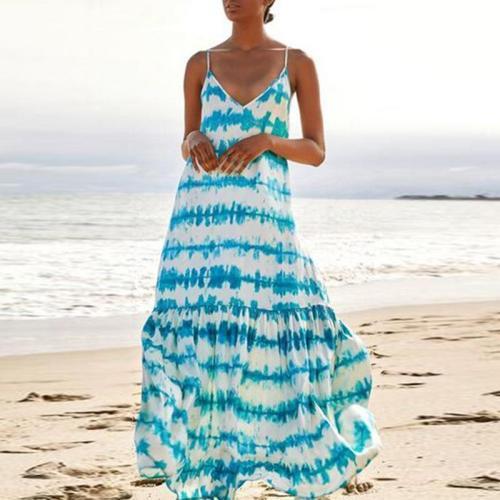 Belt Print V Collar Splice Dress