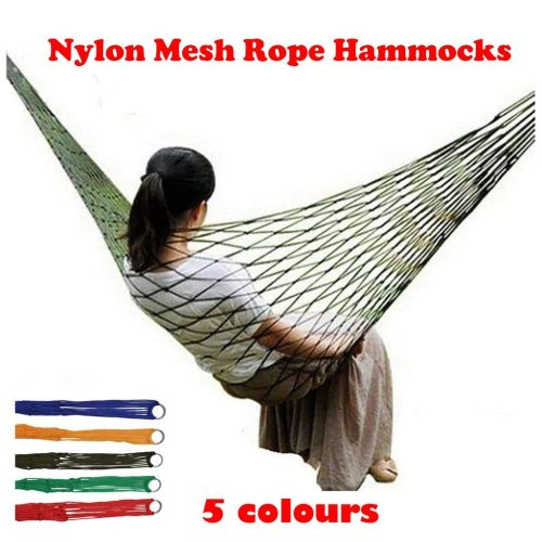 Outdoor Camping Portable Hammocks Comfortable Hanging Nylon Mesh Rope Hammocks outdoor camping Garden Swing Hanging