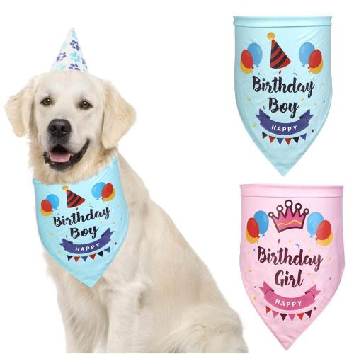 Dog Birthday Bandana Cotton Washable Birthday Bandana For Large Dog Grooming Kerchief Set Scarf Accessories Cats Pets Reversible