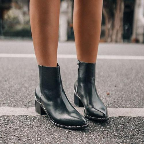 Women's Fashion Solid Color Side Zip Pointed Toe Boots