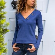 Casual Sexy V Neck Long Sleeve Hoodies Blouse