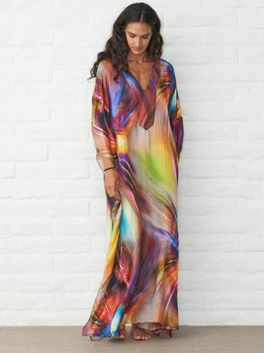Loose Printed Beach Sun-protection Long Dress