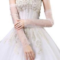 Women Wedding Fingerless Long Gloves Imitation Pearl Beaded Sheer Mesh Cuffs Arm Covers Sunscreen Anti-UV Bridal Sleeves