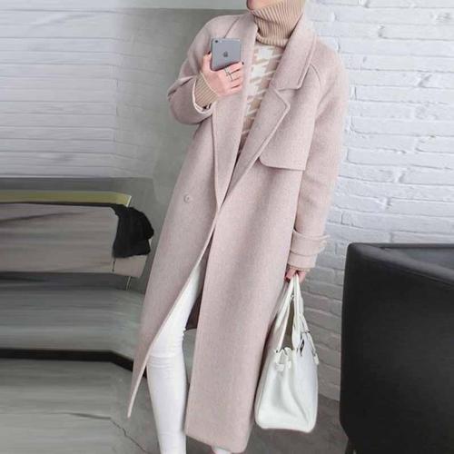 Fashion Pure Colour Long Sleeve Woollen Coat