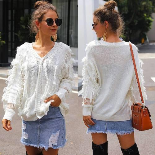 V-Neck Lace Tassel Long Sleeve Women Sweater