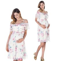 Summer New Fashion Womens Mother Floral Falbala Pregnant Off Shoulder Dress For Maternity Daily Clothes