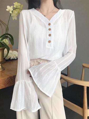 Long Sleeve V-Neck Korean Ins Doll V-Neck Chiffon Shirt