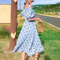 Casual Polka Dot Off-Shoulder Square-Cut Collar Maxi Dresses