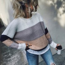 Fashion Contrast Color   Long Sleeve Sweater