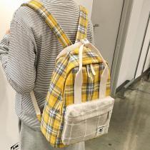 Female Plaid Cute Backpack Striped Women Canvas School Bag Vintage Girl Kawaii Backpack Harajuku Ladies Luxury Bags Student Book