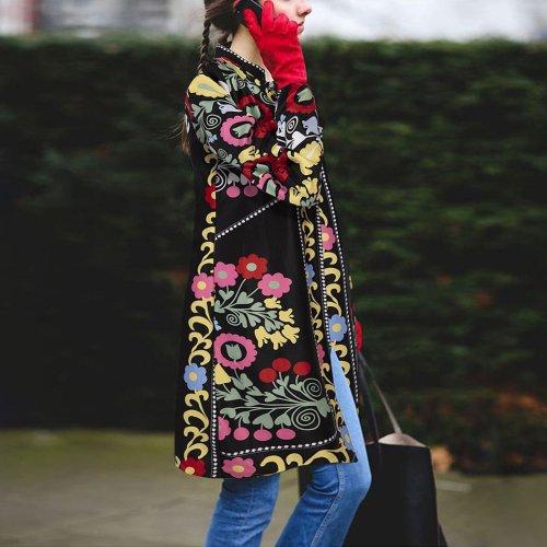 Retro Ethnic Fashion Slim Embroidery Long Sleeve Cardigan