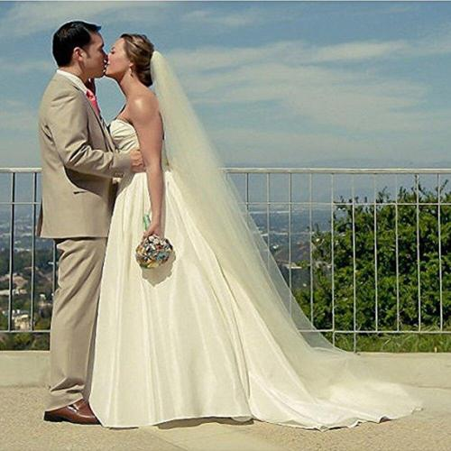Simple 3 M Soft Tulle Bridal Veil Wedding Cut Edge Women Wedding Veil With Comb Wedding Accessories