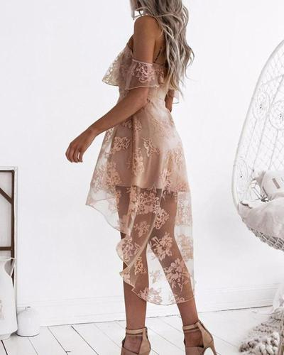Mesh Lace Sexy Suspender Evening Dress