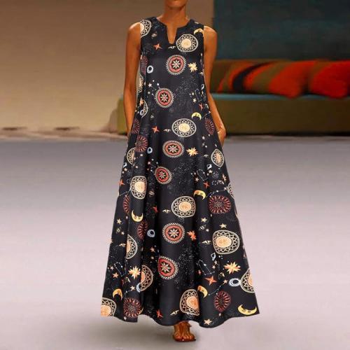 Women's Vintage Print Sleeveless V-Neck Dress