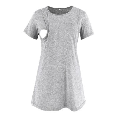 Maternity Clothes Women Pregnant Nusring Maternity O-Neck Short Sleeve Printed Stripe Blouse Tops For Pregnant