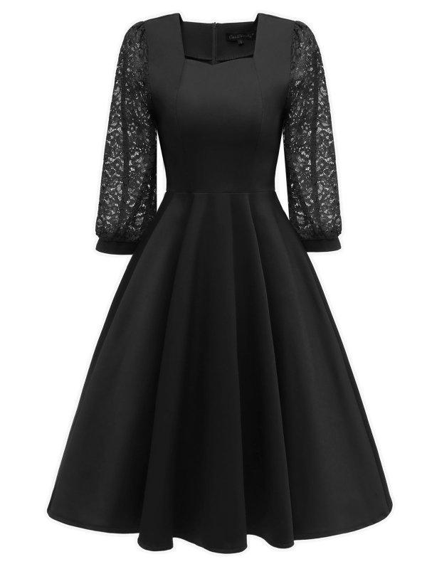 1950s Lace Patchwork Square Neck Dress