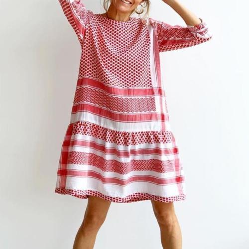 Gentle Red Printed Loose Mini Dress