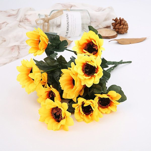 7 Heads Artificial Sunflower Simulation Sun Flower Bouquet Gerbera Daisy For Home Wedding Decoration Living Room Party Decor