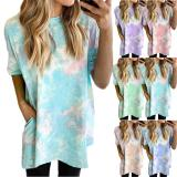 Women Tie Dye Printed Fashion Casual Loose Short Sleeve Summer Dress