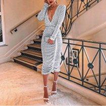 Sexy V Collar Sequin Long Sleeve Bodycon Dresses