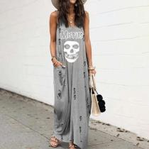 Fashion V-Neck Sleeveless Printed Ripped Loose Maxi Dress