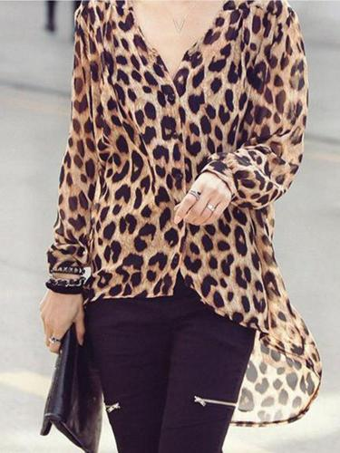 Fashion Mature Casual Loose Leopard Print Long Sleeve Blouse