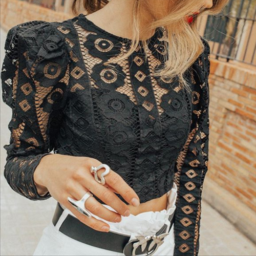 Sexy Lace Hollow Stitching Perspective T-Shirt