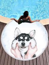 Huskie Printed Round Chic Beach Mats