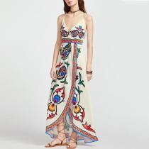 Casual V Neck Sleeveless Printed Colour Dress