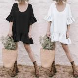 Solid Color Round Neck Imitation Linen Mini Dress