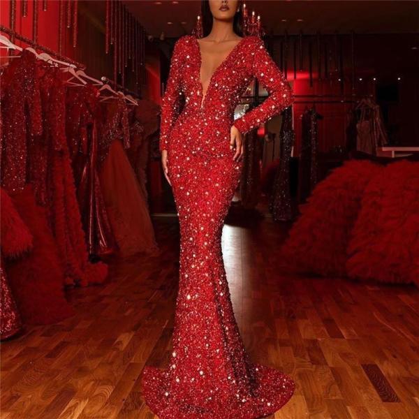 Sexy Deep V-Neck Long Sleeve Bodycon Shining Evening Maxi Dress