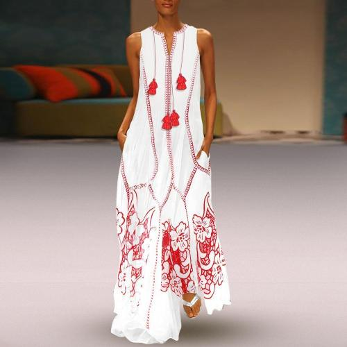 Chinese-Style Printed Cotton And Linen Casual Maxi Dress